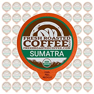 Fresh Roasted Coffee LLC, Organic Sumatra Coffee Pods, Medium Roast, Fair Trade, Single Origin, USDA Organic, Capsules Compatible with 1.0 & 2.0 Single-Serve Brewers, 72 Count