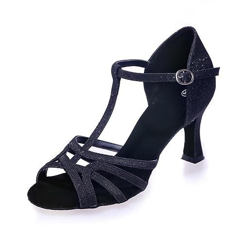 L@YC Zapatillas De Baile para Mujer En LatíN/SalóN De Baile con SatéN Negro/Rojo / Dorado/Plateado / MarróN/Azul Pueden Personalizarse En Grandes Patios: ...