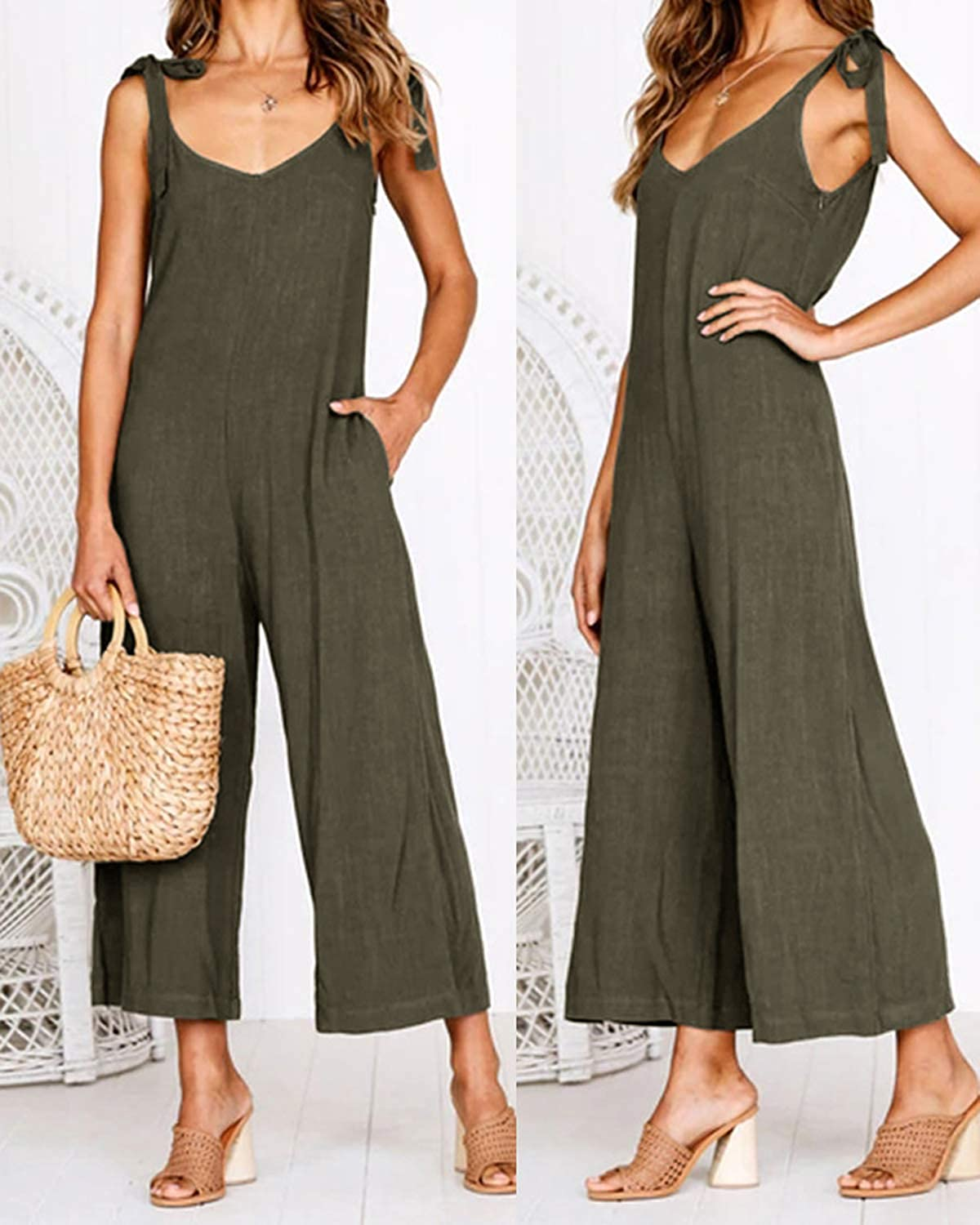 Unifizz Women Sleeveless V Neck Wide Leg Backless Solid Loose Long Pant Jumpsuit Romper with Pockets
