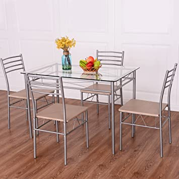 Amazon.com - Giantex 5 Piece Dining Set Table And 4 Chairs Glass Top ...