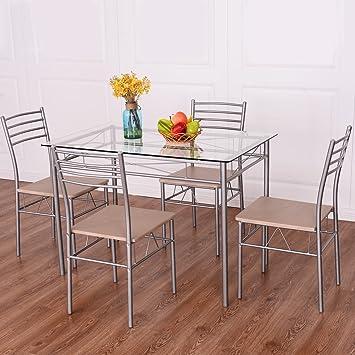 Amazon.com: Juego de comedor de 5 piezas y 4 sillas de ...