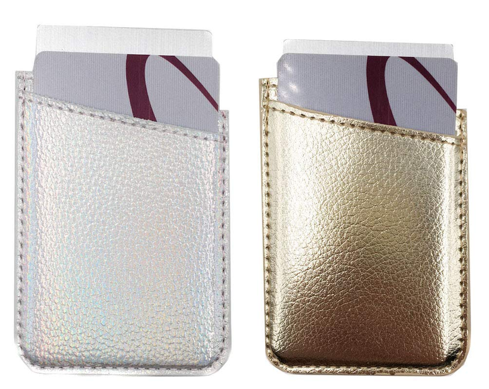 Leather Phone Pocket,Cell Phone Stick On Card Wallet,Credit Cards/ID Card Holder(Double Secure) with 3M Sticker for Back of iPhone,Android and all Smartphones-Silver&Gold