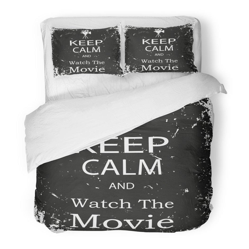 SanChic Duvet Cover Set Old Keep Calm Watch The Movie Vintage Filmmaking Theater Button Decorative Bedding Set Pillow Sham Twin Size