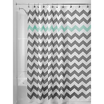 Amazoncom InterDesign Chevron Shower Curtain 72 x 72 Inch Gray