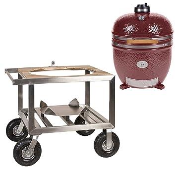 Monolith Le Chef Red con buggy Modelo 2017 cerámica parrilla Barbacoa Smoker
