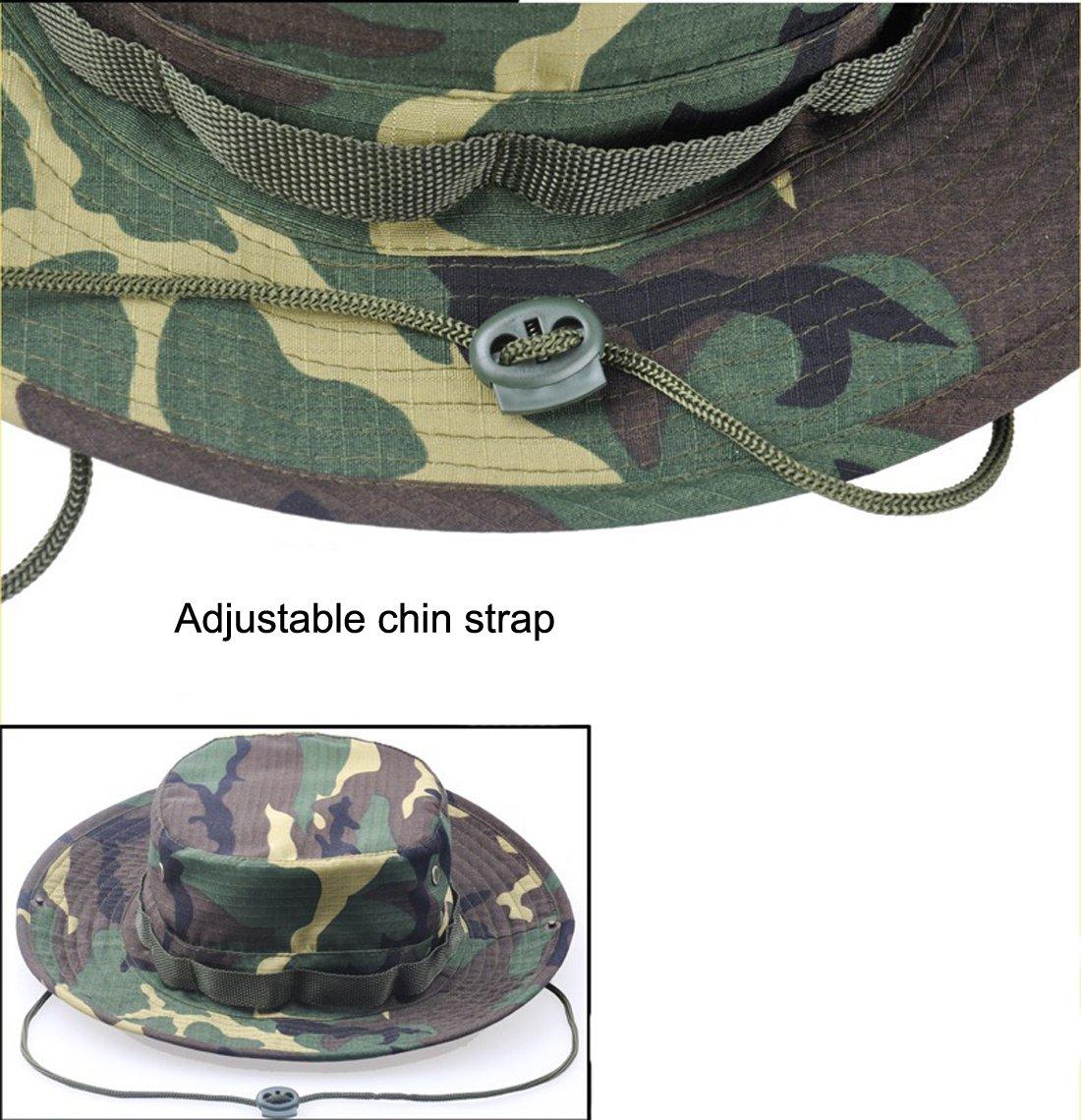 0bafa5e5191 Amazon.com   JITTY Wide Brim Military Bucket Boonie Sun Hat for Summer  Outdoor Hiking Fishing Gardening Hunting Camping Wargame (Army Green)    Sports   ...