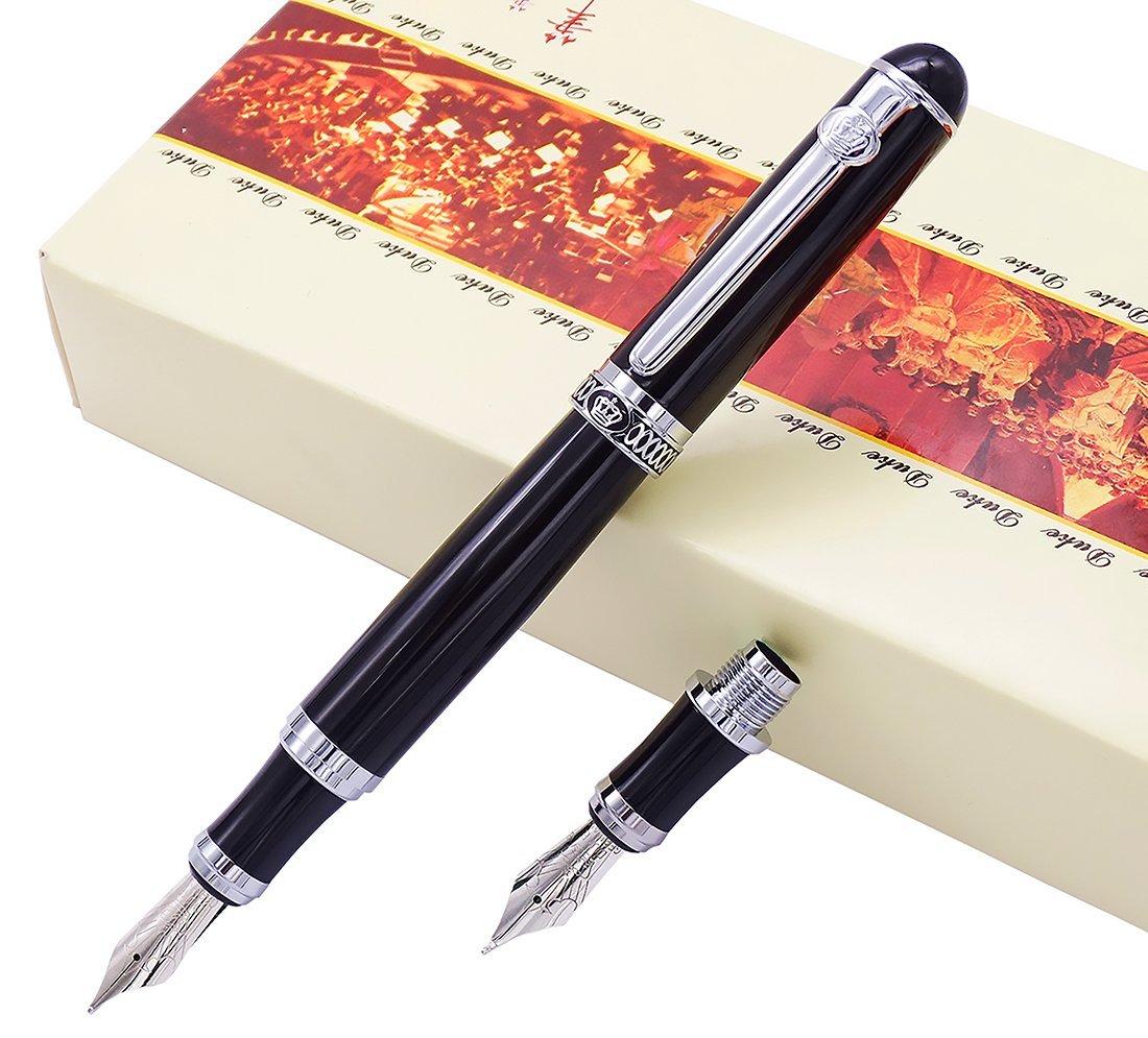 Duke Black Fountain Pen Double-Nibs Iridium Medium and Fude Calligraphy NIB Interchangeable Writing Gift Box Set for Office/Business/Art/Painting