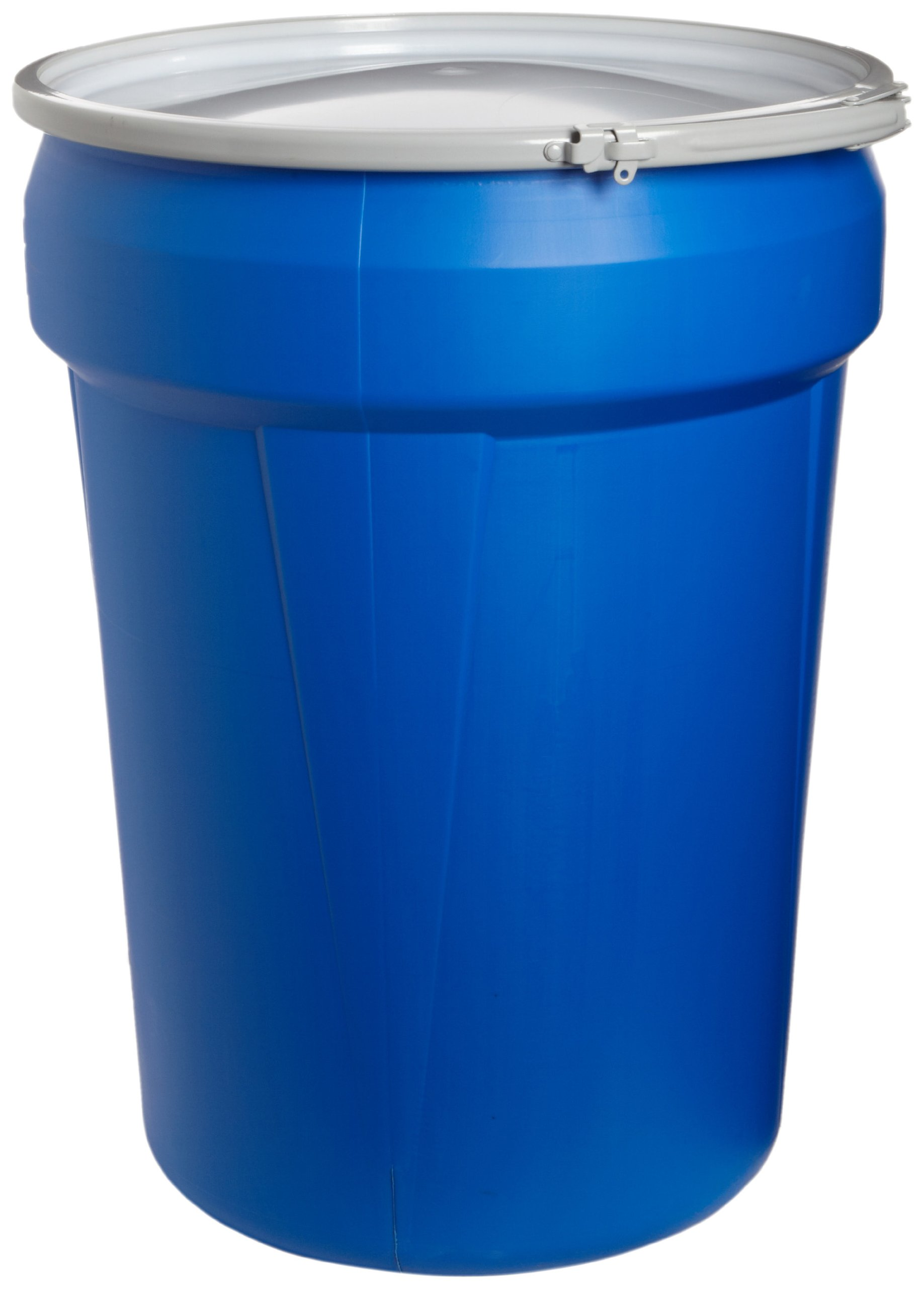 Eagle 1601MB Blue High Density Polyethylene Lab Pack Drum with Metal Lever-lock Lid, 30 gallon Capacity, 28.5'' Height, 21.25'' Diameter