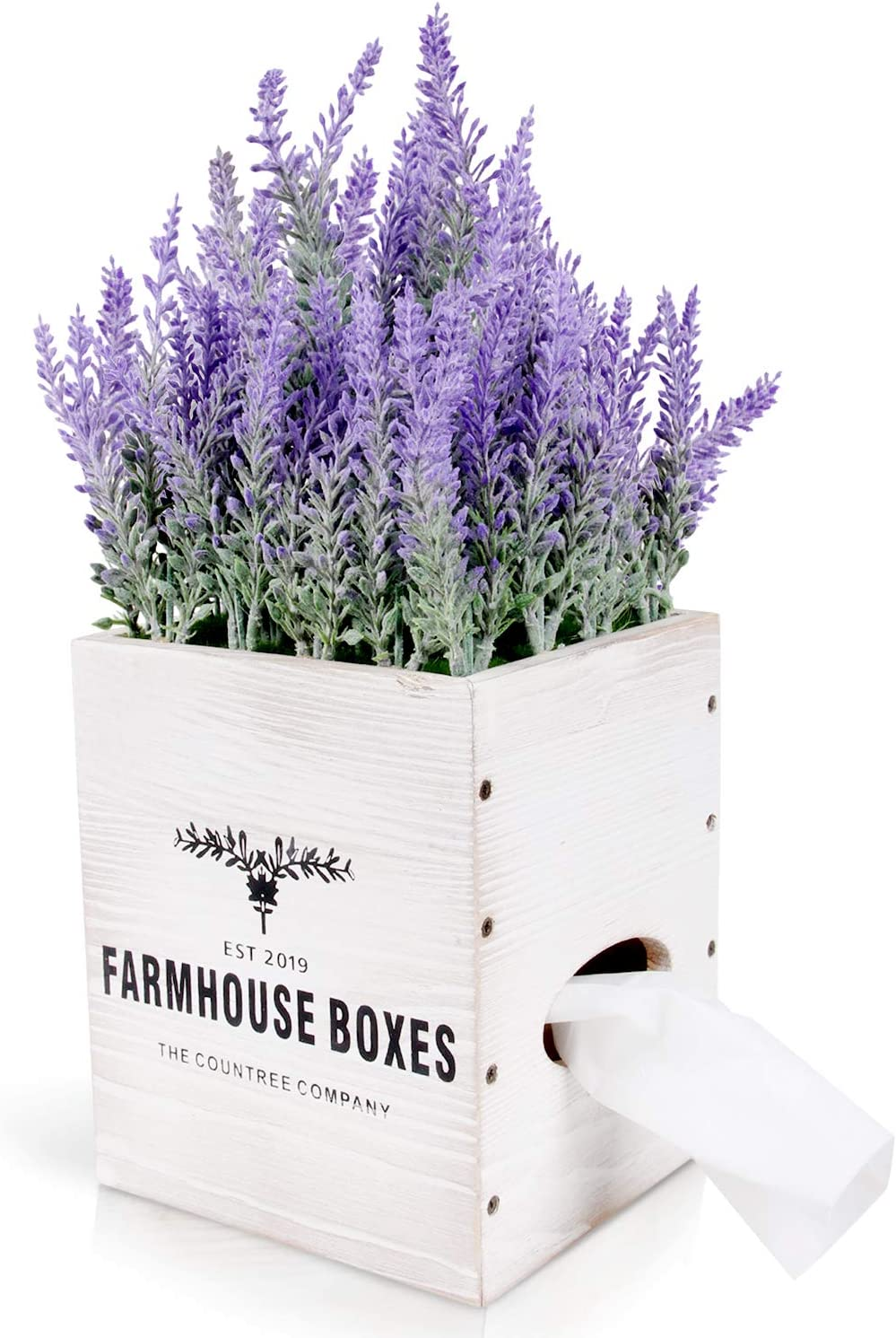 Countree Rustic Tissue Box Cover - Farmhouse Tissue Box Holder with Faux Lavender Arrangement - Decorative Wooden House Tissues Cube Square Dispenser with Artificial Flower Plant for Boho Home Decor
