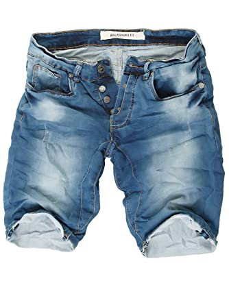 Herren Jeans Shorts kurze Hose Cinkle Optik Vintage Destroyed Bermuda