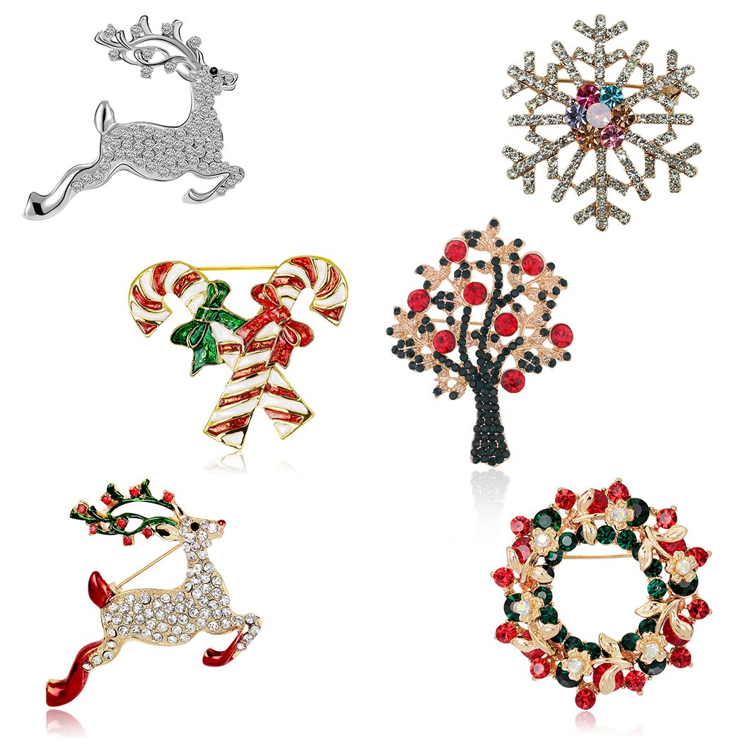 Christmas Jewelry.Christmas Brooch Pin Set Women Pack Of 6pcs Cute Crystal Diamond Enamel Christmas Jewelry Gift Including Red Crystal Reindeer White Reindeer Candy