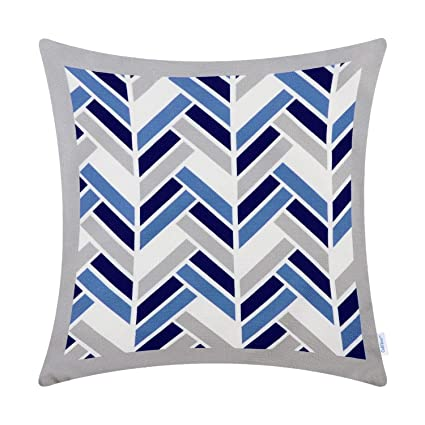 Superb Calitime Canvas Throw Pillow Cover Case For Couch Sofa Home Decoration Modern Striped Chevron Zigzag Geometric 18 X 18 Inches Light Grey Medium Gmtry Best Dining Table And Chair Ideas Images Gmtryco