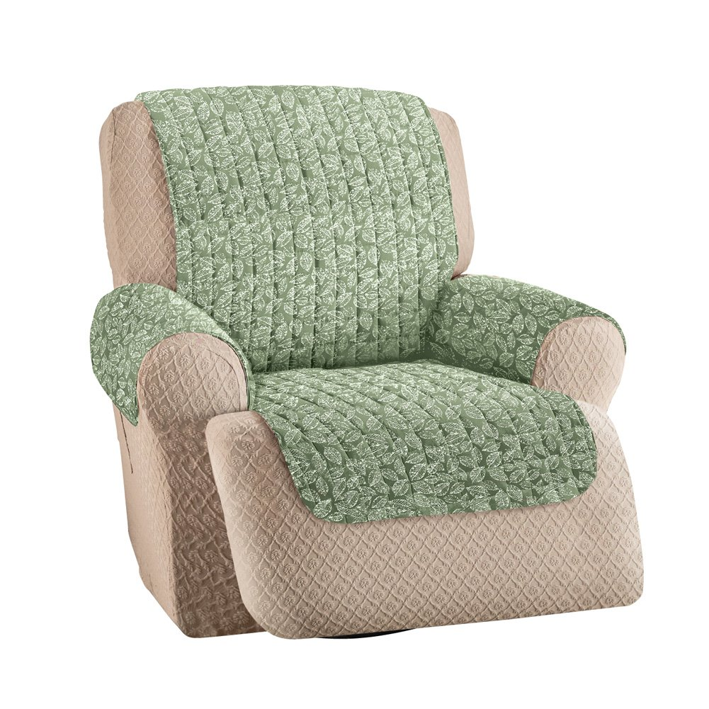 Collections Etc Leaf Pattern Quilted Furniture Protector Cover, Sage, Recliner