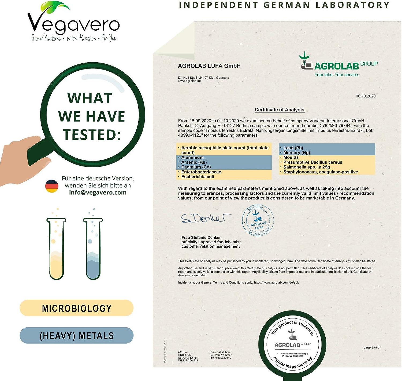Tribulus Terrestris Vegavero SPORT®   1800 mg con 90% Saponinas   El Único Sin Aditivos   Precursor de Testosterona + Suplementos Para Hombres   120 ...