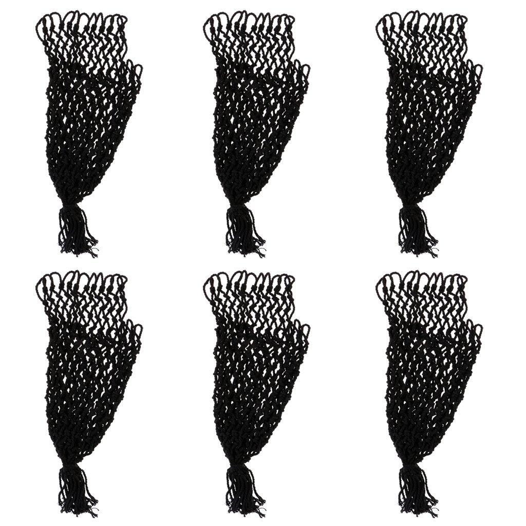 MagiDeal 6pcs/Set Bolsillos de Mallas de Tabla de Billar Negro Reemplazo de Bolso de Acoplamiento de Snooker - Hilo de algodó n + Anillo de Hierro