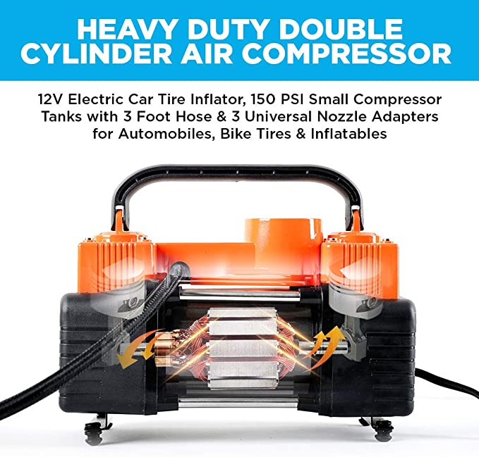 CloverLucky Car Mini Inflatable Pump DC12V Metal Plastic Electric Air Compressor Monitor Pump with 3 Nozzle Adapters