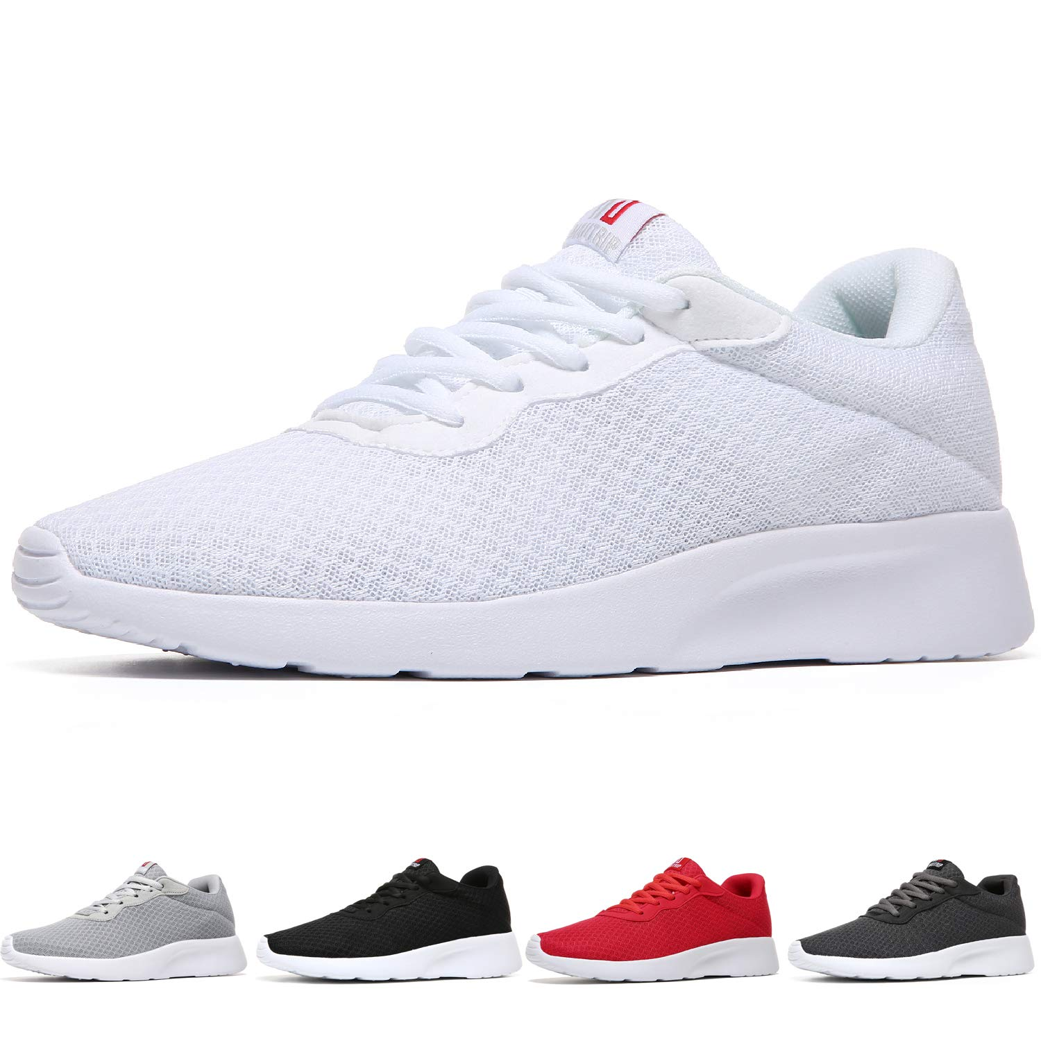 MAIITRIP Men's Running Shoes Sport Athletic Sneakers,White/White,Size 7