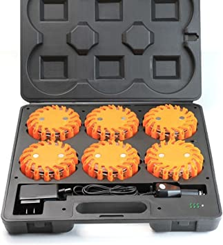 General LED Emergency Lights Road Flares Roadside Safety Flashing Warning Light Discs Kit with Charging And Carrying Case 6 Pack
