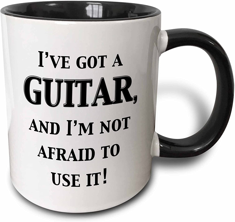 3dRose I've Got A Guitar And I'M Not Afraid To Use It Mug, 11 oz, Black