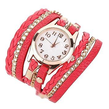 Joy Feel buy Chica Fashion Watch Faux Cuero Banda de cuarzo pulsera Relojes Chica de pulsera, rojo, Bandlänge 220mm: Amazon.es: Hogar