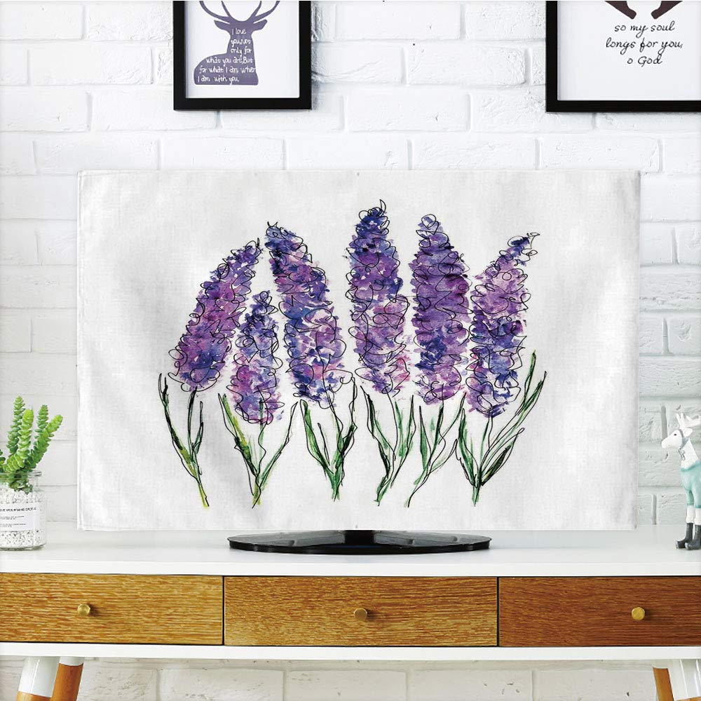 iPrint LCD TV dust Cover Customizable,Watercolor Flower,Illustration of Lavender Flowers with Fresh Colors Mint Family Plant,Violet Green White,Graph Customization Design Compatible 50''/52'' TV