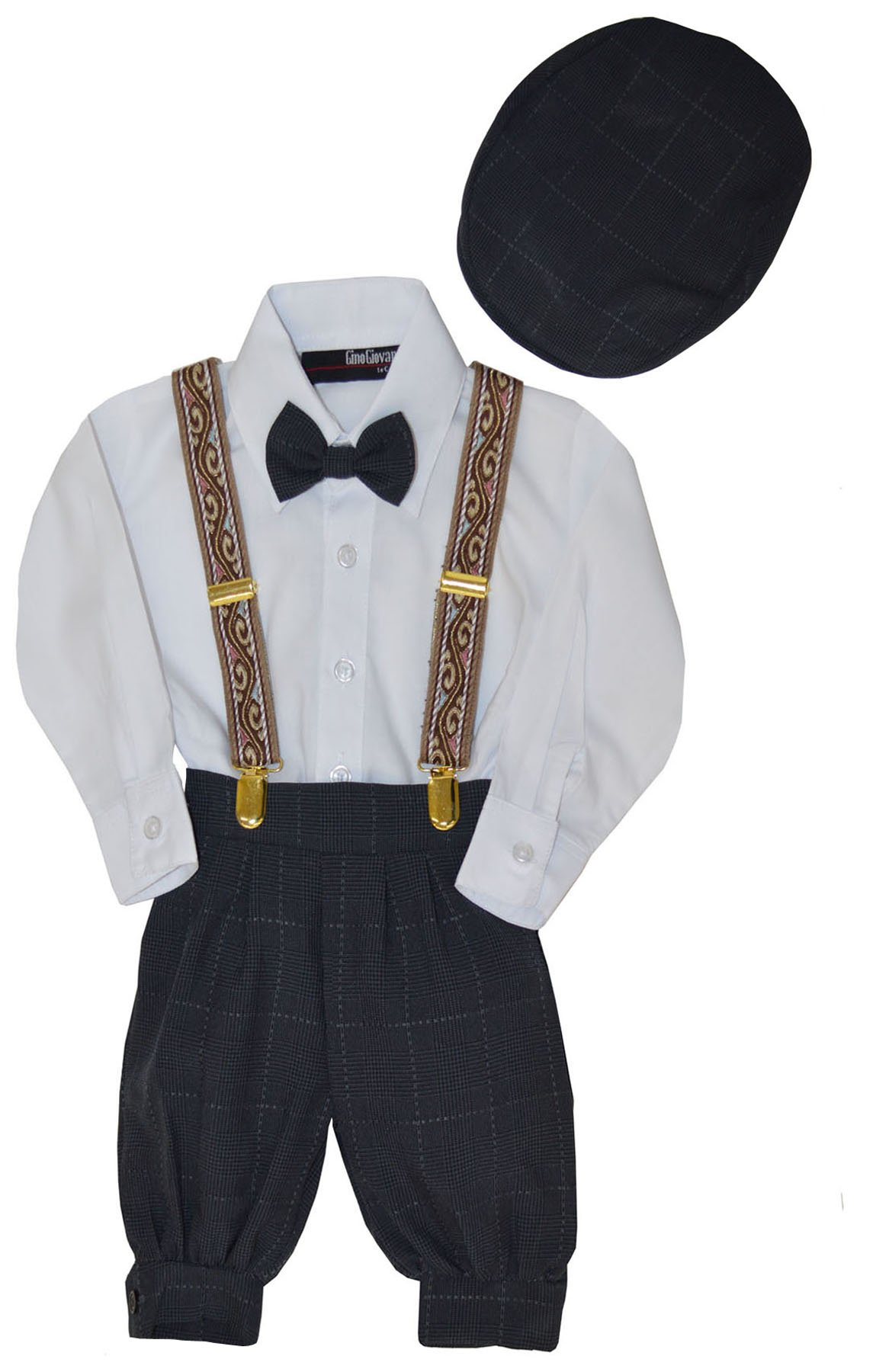 G284 Baby Boys Vintage Knickers Outfit Suspenders Set (7, Charcoal)
