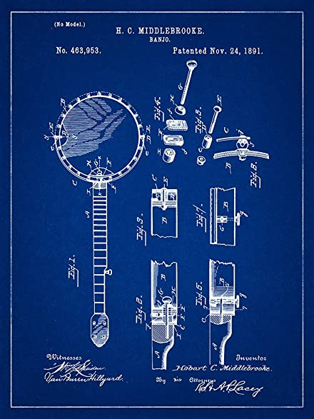 Amazon banjo 1891 patent musical instrument blueprint style art banjo 1891 patent musical instrument blueprint style art print 8x10 inch malvernweather Images