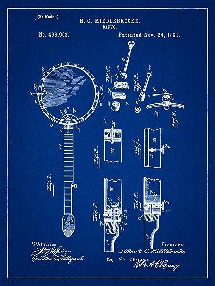 Amazon banjo 1891 patent musical instrument blueprint style art banjo 1891 patent musical instrument blueprint style art print 8x10 inch malvernweather Gallery