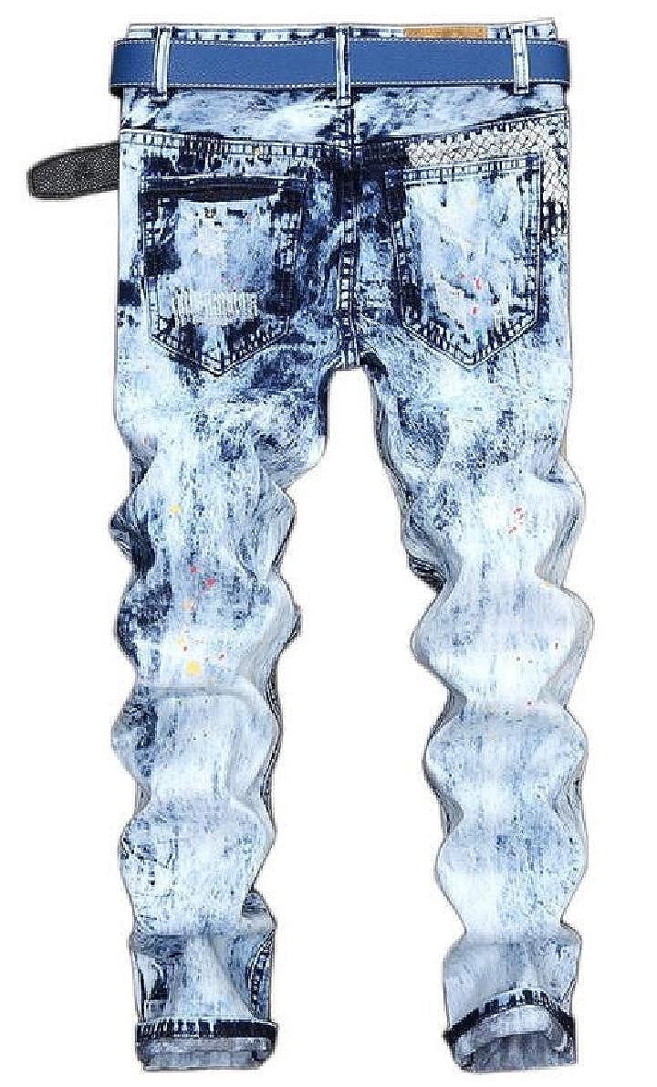 xtsrkbg Mens Ripped Slim Straight Fit Biker Jeans Vintage Denim Jeans
