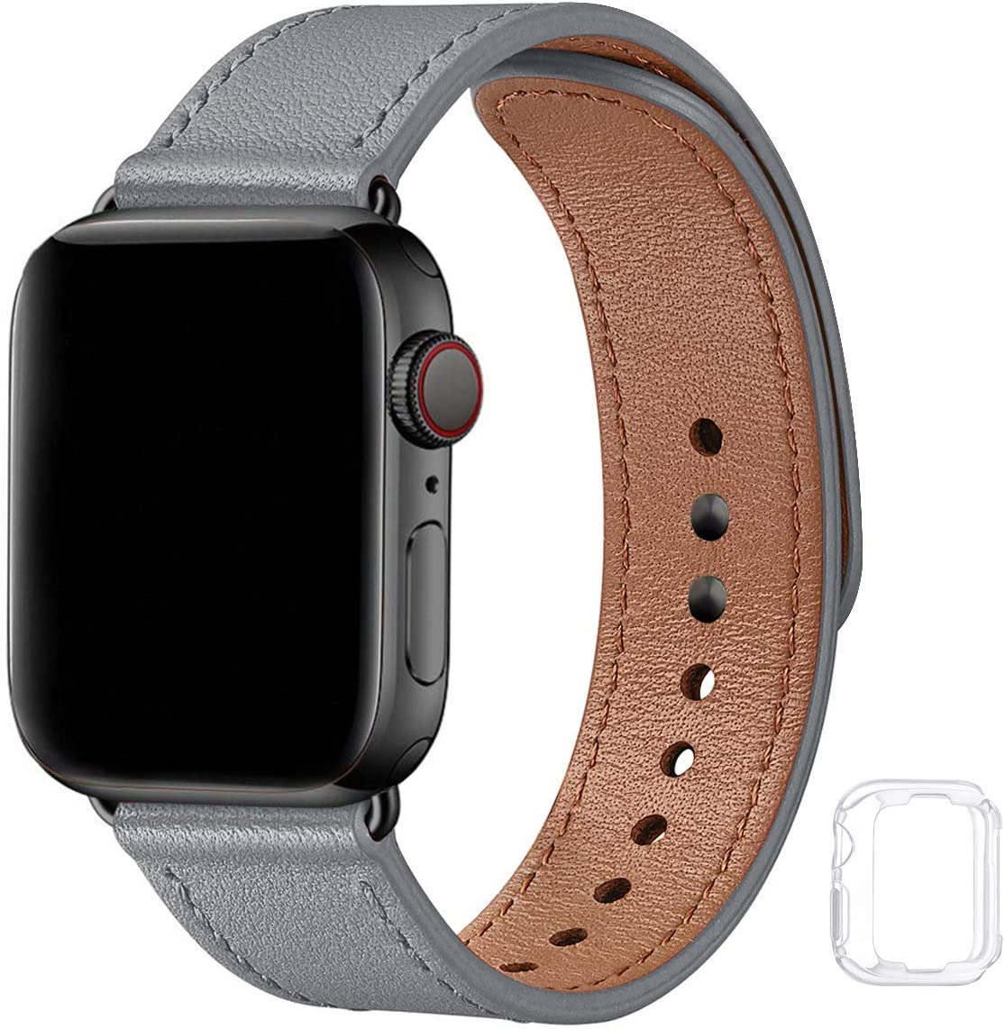Soft Leather Bands Compatible with Apple Watch Band 38mm 40mm 42mm 44mm, Special Watch Band Replacement Strap for Women Men for iWatch SE Series 6 5 4 3 2 1 (Gray with Black, 42MM/44MM)
