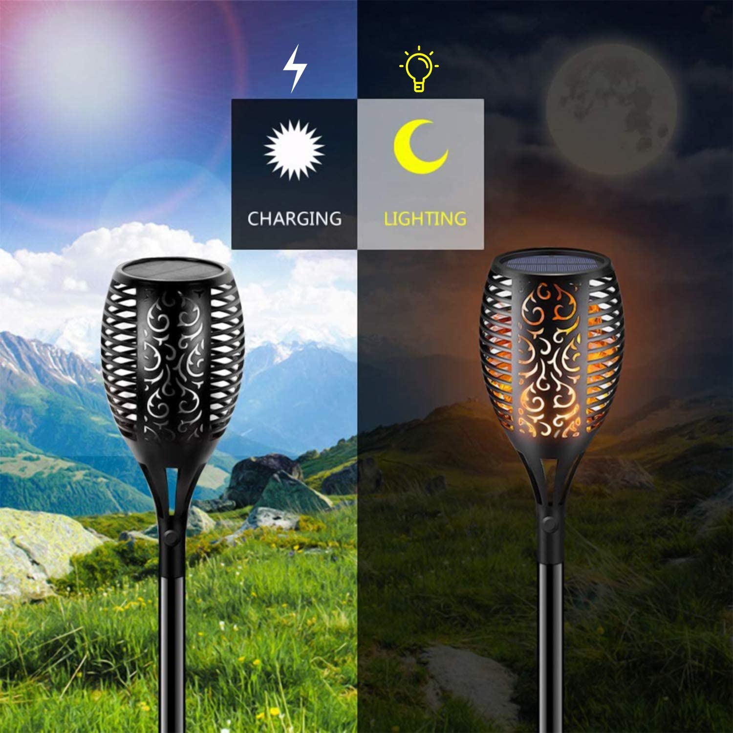 Ibbyee Waterproof Flickering Torches Lights Outdoor Pathway Spotlights Landscape Decoration Lighting Dusk to Dawn Auto On//Off Security for Patio Driveway Solar Torch Lights Outdoor Flame 96 LED