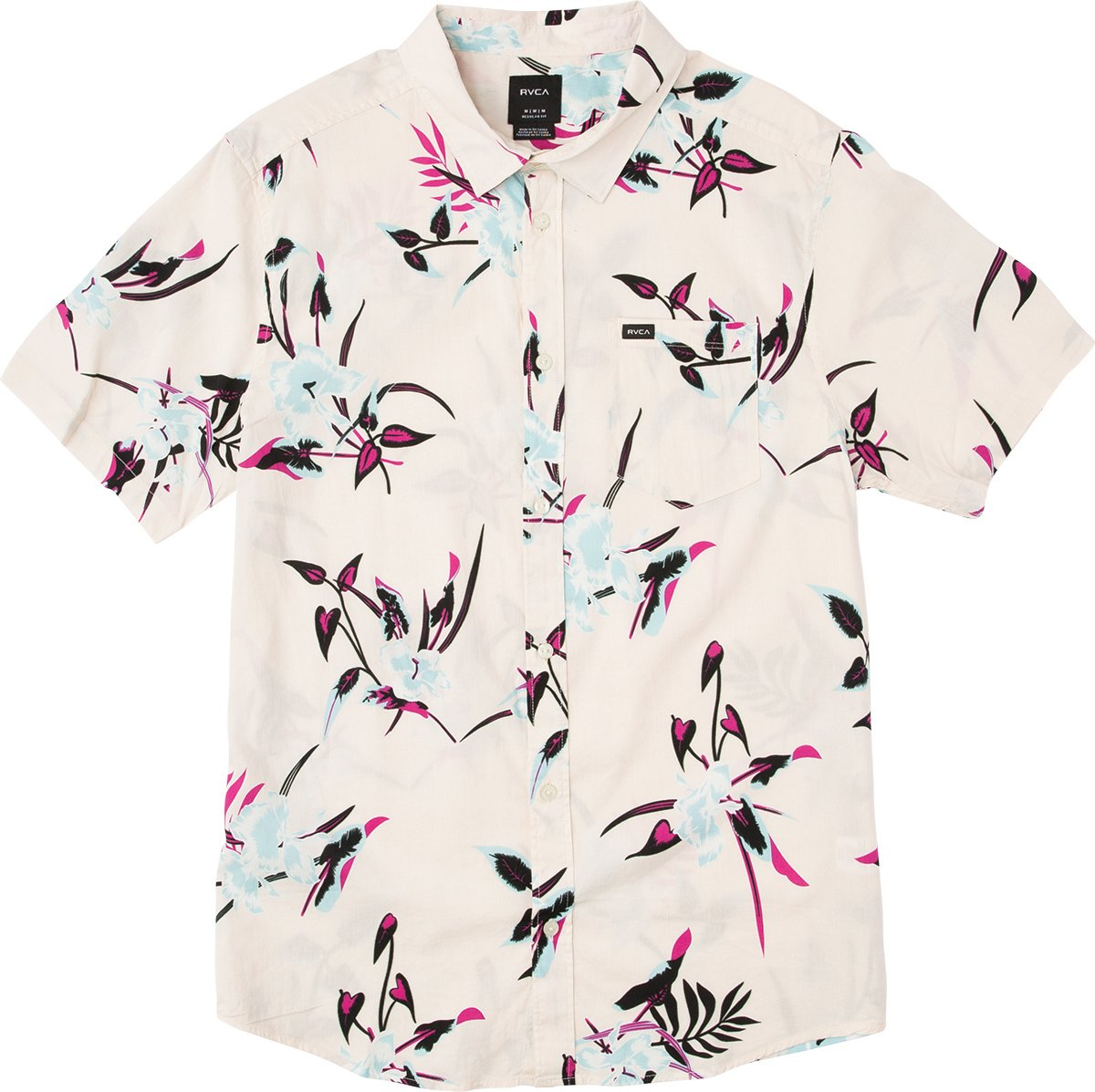 RVCA Men's Moonflower Short Sleeve Woven Button Down Shirt, Rosewater, L