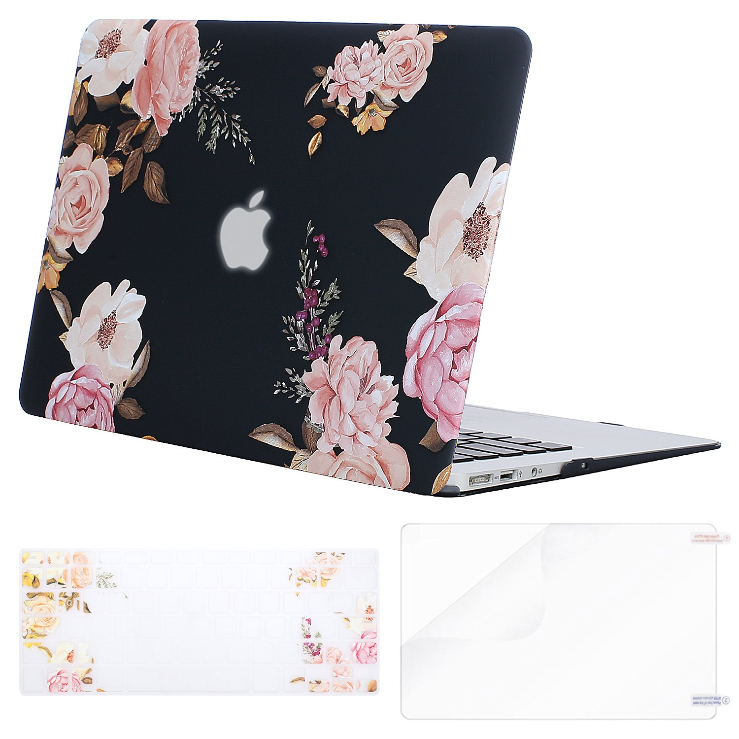 MOSISO Plastic Pattern Flower Hard Case Shell with Keyboard Cover with Screen Protector Compatible MacBook Air 13 Inch (Model: A1369 and A1466), Peony on Transparent Black Base
