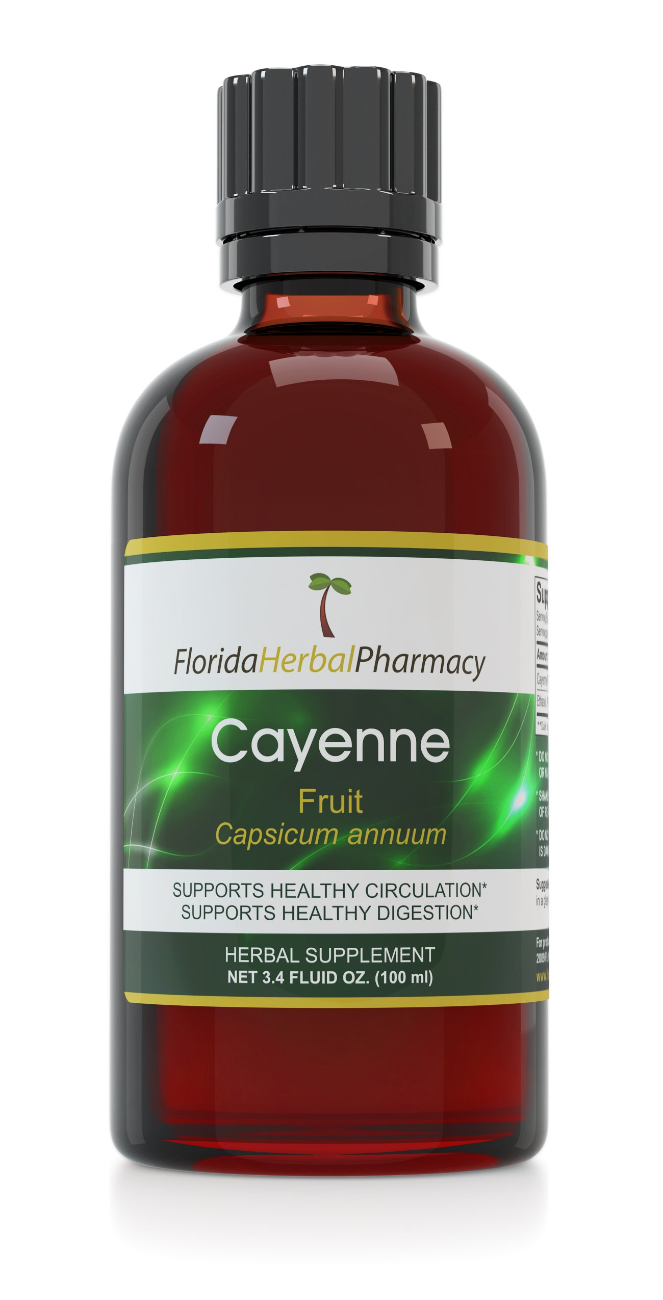 Florida Herbal Pharmacy, Cayenne (Capsicum annuum) Tincture/Extract 3.4 oz. (100 ml) Pack of 3