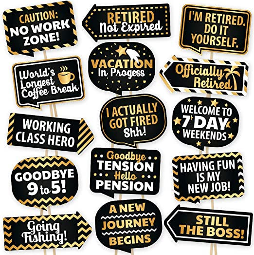 Retirement Photo Booth Props By Partygraphix European Made Retirement Party Supplies Easy To Assemble Selfie Props Retirement Party Decorations