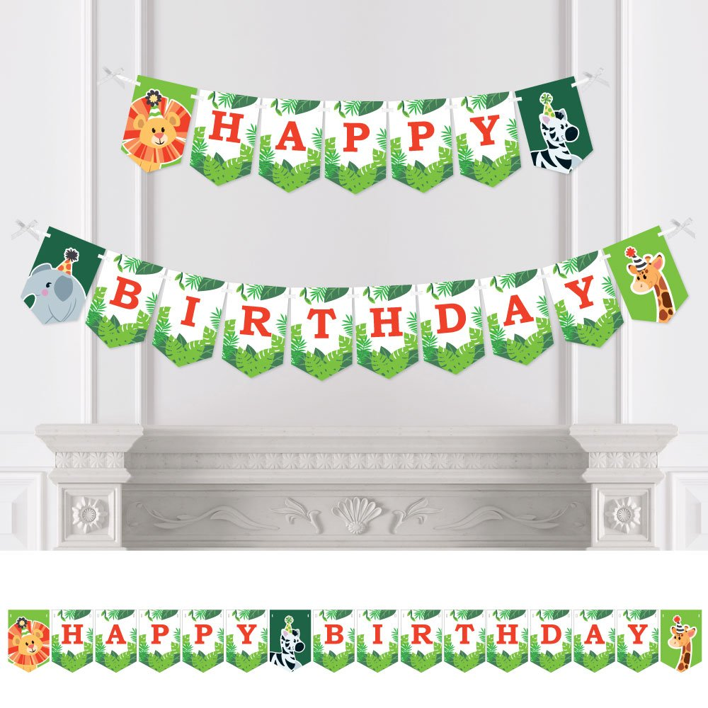 Big Dot of Happiness Jungle Party Animals - Safari Zoo Animal Birthday Party Bunting Banner - Birthday Party Decorations - Happy Birthday