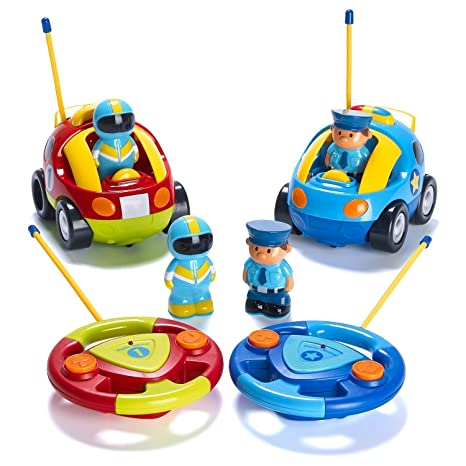 Review Prextex Pack of 2 Cartoon R/C Police Car and Race Car Radio Control Toys for Kids- Each with Different Frequencies So Both Can Race Together
