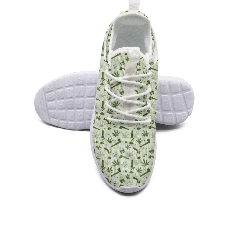 Ether Dobbin Women's Green Marijuana Pipe Ice Cream Elastic Lightweight Running Shoes Breathable Mesh Walking Sneakers