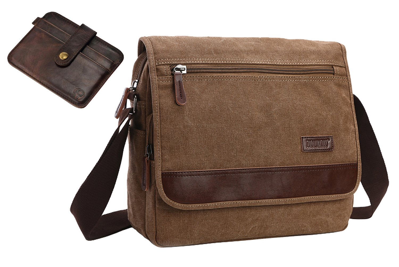 AIBAG Canvas Messenger Bag | Premium Quality Crossbody Bag | Includes BONUS Slim Wallet