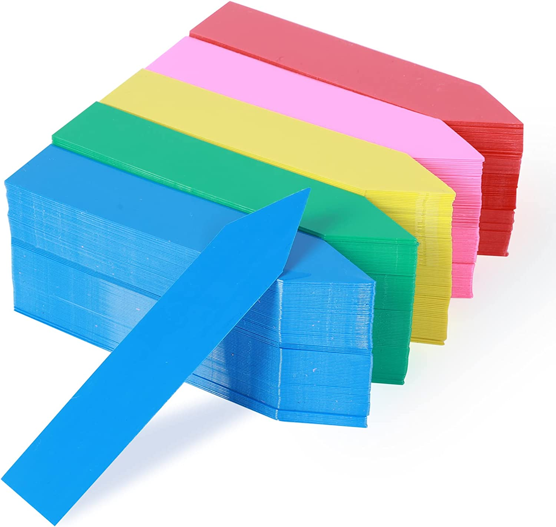 JERIA 500 Pcs 4 Inch Plant Labels, Plastic Waterproof Plant Tags, Nursery Garden Labels for Plants Markers (5 Colors)
