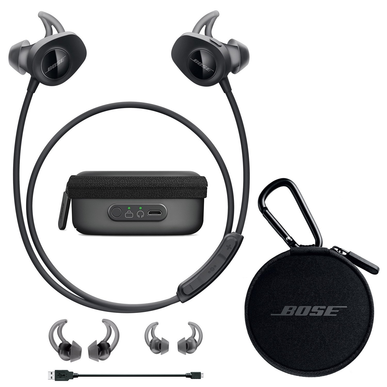 Bose SoundSport Wireless In-Ear Headphones - Black & Charging Case - Bundle by Bose