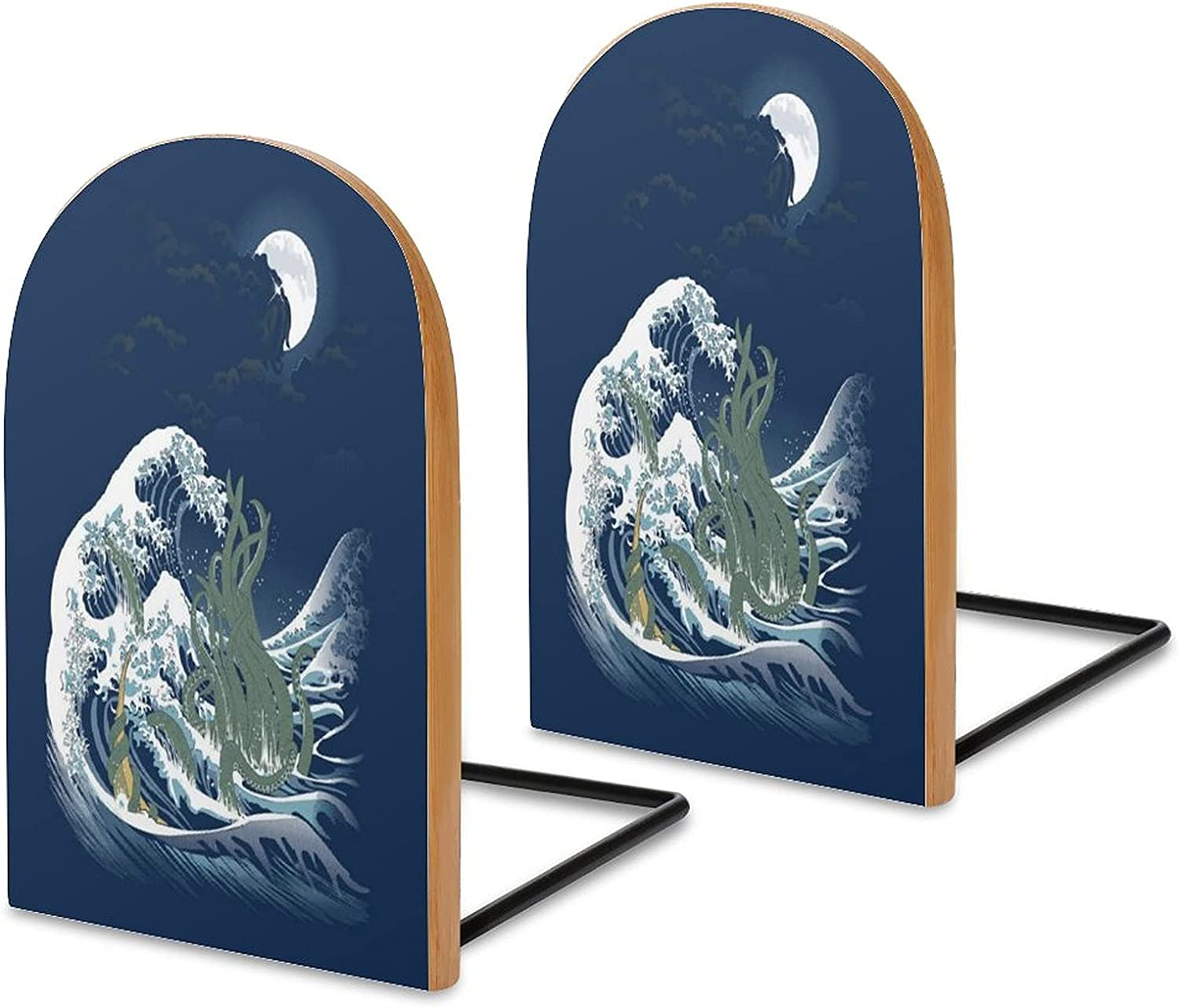 The Wave Off R Lyeh The Call Of Cthulhu H P Lovecraft Great Wave Of Kanagawa Bookshelves, decorative bookshelves Wooden office bookends, bookshelves for thick books, family bookends 5 x 3 in (pair/two