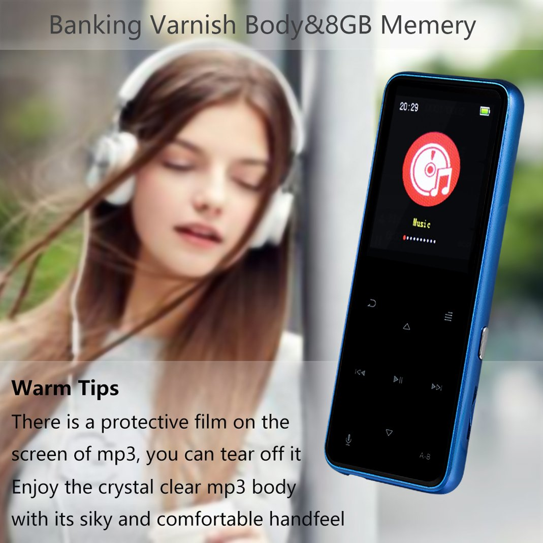 MP3 Player - HonTaseng Portable Sport Bluetooth Metal Music Player With Touch Button, Up To 60 Hours Playback Time, Lossless Sound With Voice Recorder And FM Radio, Expandable 64GB TF Card-Blue
