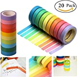 SACKORANGE Washi Tape, Decorative Diy Tape Washi Rainbow Candy Color Sticky Paper Masking Adhesive Tape Scrapbooking and Phone Diy Decoration, 20 Rolls