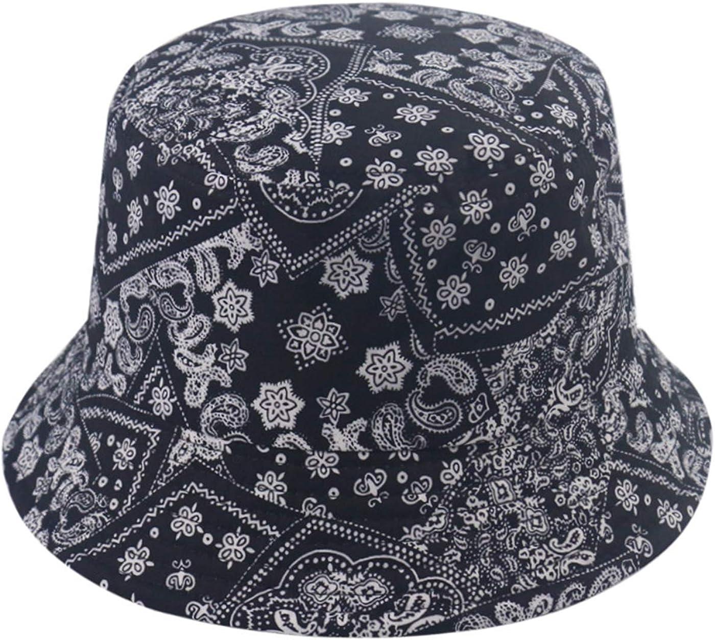 Bucket Hats for Women, Summer Print Double-Side-Wear Fishing Hats Outdoor Beach Caps (Cashew Black Flower): Clothing