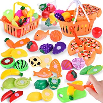 54Pcs Simulate Kitchen Slicing Toy Set Kids Fruit Vegetable Cooking Toy  U Zauberartikel & -tricks