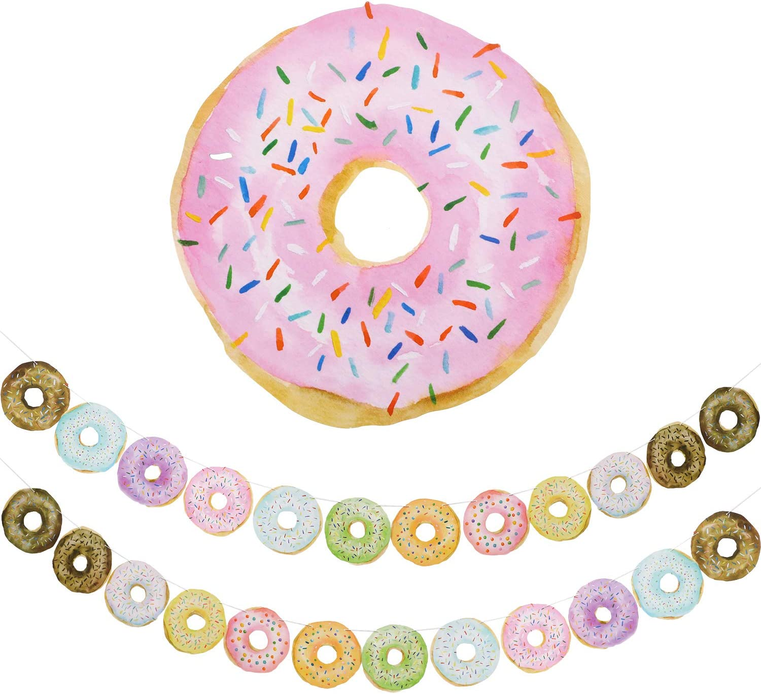 Donut Decorations Party Banner Garland Doughnut Birthday Party Supplies Donut Time Party Decorations for Thanksgiving Christmas or Birthday Party Photo Props, 2 Sets