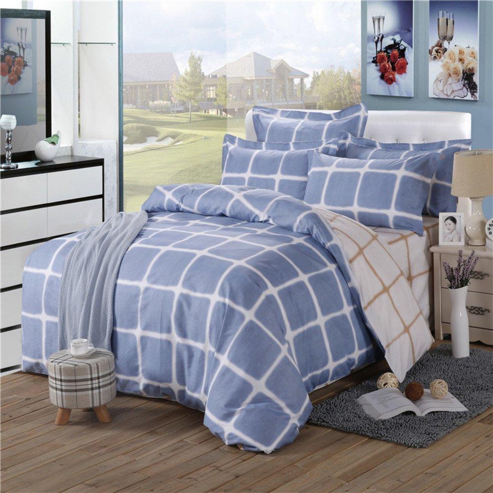 DIDIDD Simplicity Style Pure Cotton Stripe Four Set of Duvet Cover (1Duvet Cover 1Sheet 2Pillowcase)