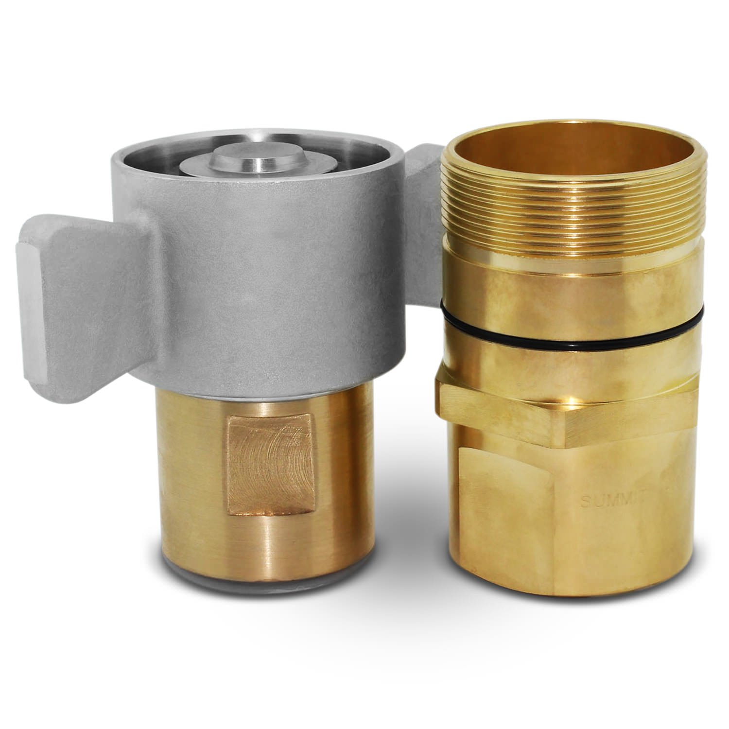 "1-1/2"" NPT Wet-Line Wing Nut Hydraulic Quick Disconnect Coupler / Coupling Set"