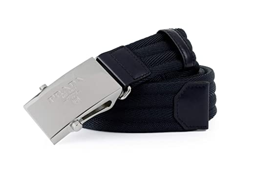 9cafcd55442c01 Prada Nastro Sport 1 Web Logo Plaque Belt, Blue 2CN004 at Amazon ...